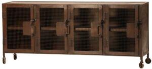 "68"" Long rusted Steel Industrial Locker Style Sideboard Plasma media cabinet"