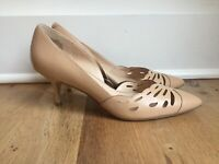 Nine West Women's Megara Leather Pumps Size 7 Tan Natural EUC
