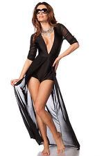 Body-Kleid mit V-Ausschnitt und angesetzter Netzschleppe