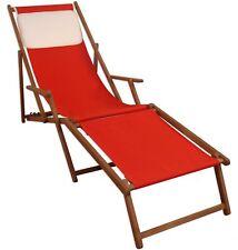 Transat pour Jardin Rouge Coussin de Chaise Longue Hêtre Massif 10-308 Kh