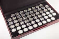 Full Set of 56 Proof Silver State Quarters and US Territories w/ Box and Case