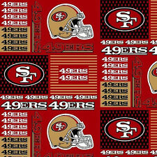 """NFL San Francisco 49ers 6434D Red 100% Cotton 30"""" X 58"""" Fabric Remnant"""