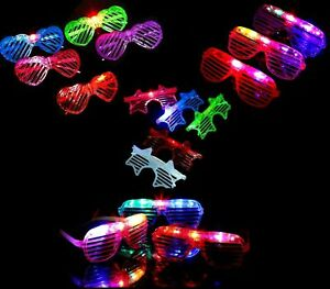 LIGHT UP, LED GLASSES,  GLOWING,PARTY AND CLUB GLASSES, HEART AND OVAL SHAPE LOT