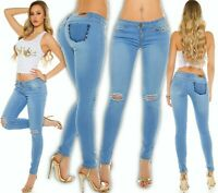 Koucla Skinny Jeans mit Nieten Rissen Jeanshose Hose Used-Look figurbetont 38 M
