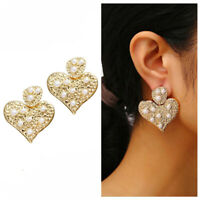 New Fashion Heart Love Gold Plated Pearl Lady Women Boho Ear Stud Earrings Gifts