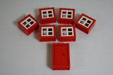 Lego City 6 rot weiße Fenster 4132 & 1 rote Tür 4130 (B1)
