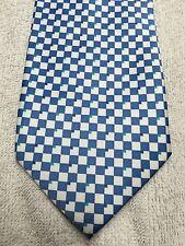 ROMARIO MANZINI MEN'S TIE BLUE AND WHITE CHECKER BOARD 60 X 4