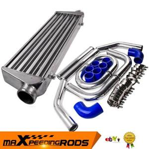 """2.5"""" Universal Pipe Kit & Front Mount Intercooler 550x175x64 Core Tube & Fin New"""