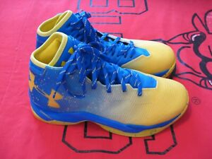 Used Under Armour Curry 2.5 Yellow And Blue Size 10 Basketball Shoes #2032