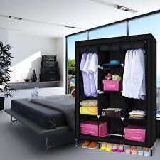 Multiple Portable Triple Shelve Canvas WARDROBE With Hanging Rail Storage Black