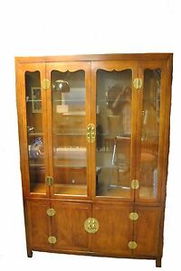 Henredon Asian Style Cherry Campaign Lighted China / Display Cabinet
