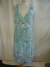 Damas Vestido KSL, Reino Unido 14, color menta Floral, forro de poliéster, profundo cuello en V 0352