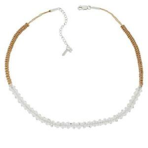 "HSN Herkimer Mines Herkimer ""Diamond"" Quartz Tan Adjustable Necklace $289"