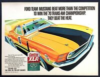 1970 Ford Boss Mustang Trans-Am Racer art Castrol XLR Oil vintage promo print ad