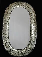 LARGE WALL MIRROR MOSAIC OVAL SILVER