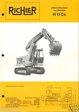▬►Prospectus de 1971 RICHIER  PELLE HYDRAULIQUE CHENILLES H 11 C4  No Poclain
