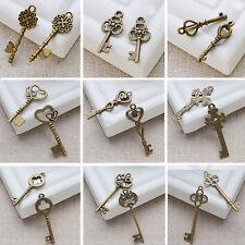 Set Of 11 Antique Vintage Old Look Skeleton Key Pendant Heart Bow Lock Steampunk
