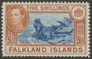Falkland Islands 1949 KGVI 5sh Dull Blue + Yellow-Brown UM Mint SG161c cat £120