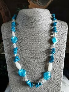 Vintage Blue Turquoise & Glass Bead Necklace
