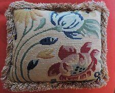 Vintage Needlepoint Red Velvet Pillow Fringe Trim Flower Tapestry Design