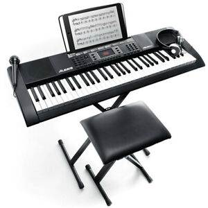 Alesis Pack 61 Keys Electronic Keyboard/Electric Piano w/Headphones/Stool/Mic