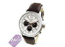 Aviator señores reloj reloj pulsera pilotenuhr chronograph avw1812g232 marrón de cuero