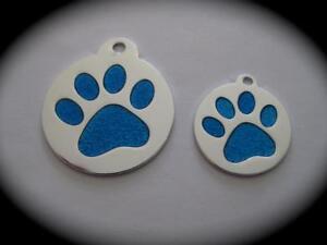 SMALL/LRG Round Glitter Enamel engraved Pet ID Name Tag Cat Dog free split ring