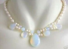 "Blue Fire Opal & White Fresh Water Real Pearl Cluster Necklace 18"" AA"