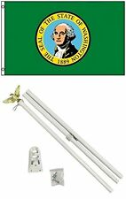 3x5 State of Washington Flag White Pole Kit Set 3'x5'