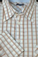 Ted Baker London Men's White Brown & Blue Check Cotton Casual Shirt L Large