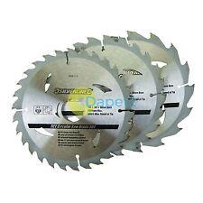 3 Circular Saw Blades 165mm Diameter 30mm Bore 10 20 & 16mm Bushes Mitre 6 1/2