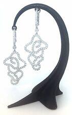 1.40 CTS Diamond Art-Deco Filigree Hoop Dangle Earrings 18k White Gold VS2