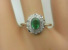 Vintage 14k White Gold 0.50 ct Emerald and Diamond Ring 0.57 ct TW