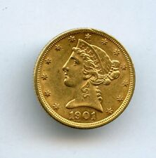 1901 $5 Liberty Gold Coin AU with Luster