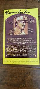 WARREN SPAHN SIGNED HALL OF FAME HOF PLAQUE POSTCARD BOSTON MILWAUKEE BRAVES