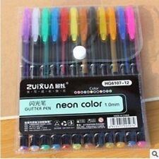 12 PCS Gel Pen Set Refills Metallic Pastel Neon Glitter Sketch Drawing Color Pen
