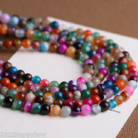 Precious Gemstone Multi-color Striped Agate Round Loose Beads For Jewelry Making
