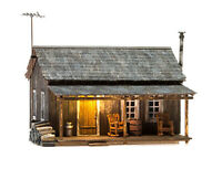 Woodland Scenics N BR4955 Rustic Cabin, Built and Ready with LED. New