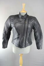 CLASSIC BUFFALO BLACK LEATHER BIKER JACKET WITH THERMAL LINING SIZE 12