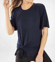 Fabletics Women's Alia Navy Blue Tied Short Sleeve Tee Size Medium New