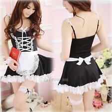 Womens' Lingerie Black White Apron Maid Servant Cosplay Costume Dress Halloween