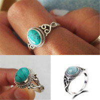Fashion Women Men Charm 925 Silver Ring Turquoise Wedding Engagement Size 6-10