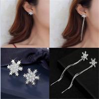 Cute Stud Earrings Star Snowflake Rhinestone Crystal Christmas Party Jewelry New