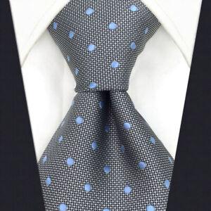 SHLAX&WING Mens Tie Grey Blue Dots Neckties for Men Silk Business New Design