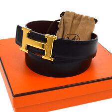 Authentic HERMES Vintage H Logos Buckle Constance Reversible Belt Black V11772