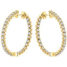 3.00 CT Diamond Inside/Outside Hoop Earrings in 18k Yellow Gold New