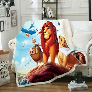Cartoon Lion King 3D Printed Fashion Fleece Sherpa  Warm Bed Sofe Throw Blanket