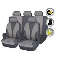Universal Full Set Car Seat Covers Polyester Protectors Gray Washable Breathable