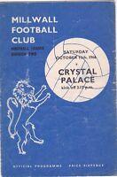 MILLWALL V CRYSTAL PALACE DIVISION TWO 15/10/66