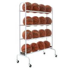 16 Ball Rack for Basketball, Volleyball, Soccer, Gyms Ball Storage Cart